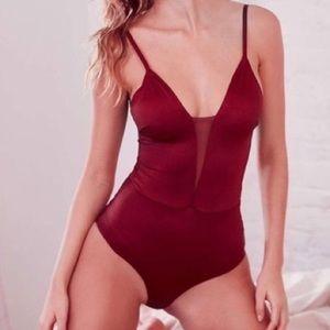 Out from Under burgundy shimmer bodysuit